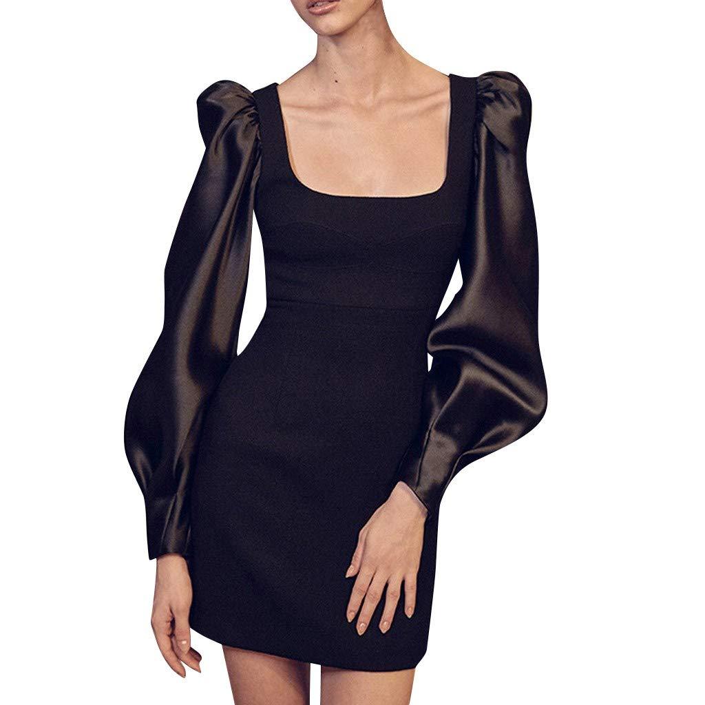 Women Solid Square Collar Lantern Long Sleeve Party Dress (L, Black) by DRAGONHOO
