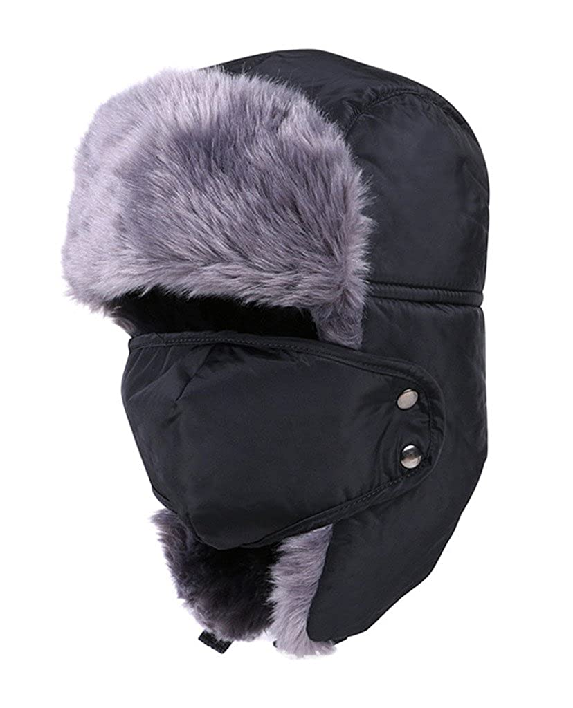 Geval Unisex Winter Faux Pelz Futter Trapper Ski Hut Mütze mit Maske