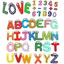 Zap Impex 26+10+5pcs Colorful Funny Wooden Refrigerator Magnetic Alphabet A-Z Letters & Numbers & Operational Sign Preschool Toddler Toy Perfect for Children to Learn and Spell Words