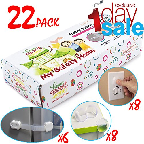 ON SALE - Baby Safety Locks Set - 6 LATCHES, 8 CORNER GUARDS, 8 OUTLET PLUGS   Child Proof Cabinets, Cupboard, Drawers, Fridge   No Tools   3M Adhesive, Adjustable Strap & Latch System, 22 Pack Kit
