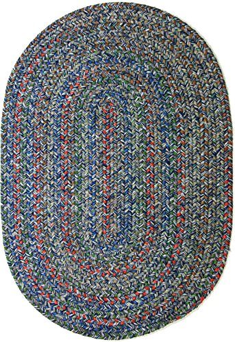 RRI Home Decor  Sonya Indoor/Outdoor Oval Reversible Braided Rug, 2 by 3-Feet, Denim Multicolor (Blue Oval Braided Rug)