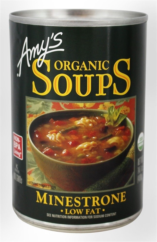 Amys Organic Minestrone Soup; Low Fat, 14.1 ounce each - 12 per case.