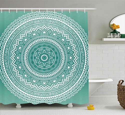 Teal Ombre Shower Curtain by Ambesonne, Mandala Pattern Boho Style Floral Dots and Stripes with Petals Ethnic Print, Fabric Bathroom Decor Set with Hooks, 70 Inches, Teal and White