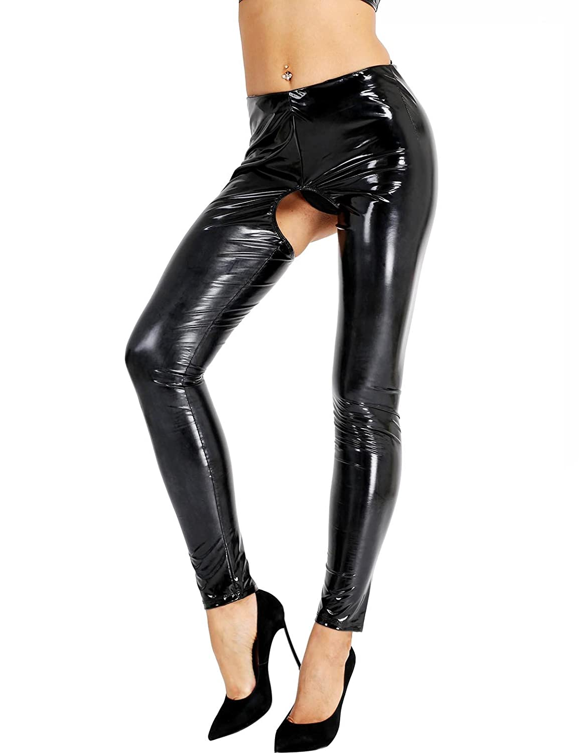 iixpin Damen Wetlook Leggings Stretch PU Lederhose Glänzend Ouvert-Hose Kunstleder Slim Schwarz Smooth Hose S-XL