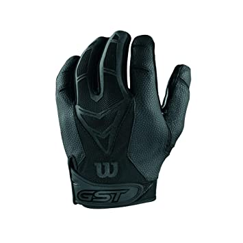 a038370d043 WILSON adult gst skill gloves tackteck american football  black -Medium