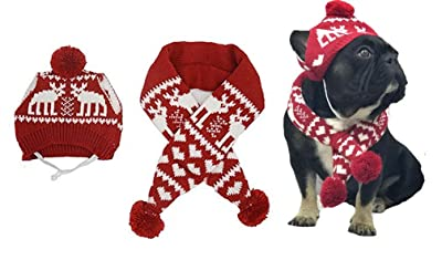 Alemon Pet Xmas Costume Accessories Knit Christmas Reindeer Scarf and Hat Set