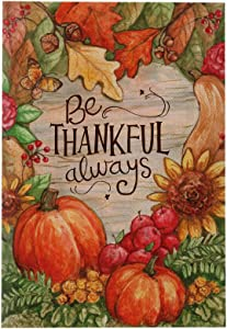 MONORD Thanksgiving Be Thankful Always Garden Flag Vertical Double Sided Fall Leaves Pumpkins Acorns Sunflowers Apples, Autumn Yard Outdoor Decor 12 x 18 Inch