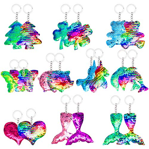 20 Pcs Flip Sequin Keychain, Backpack keychain Animal Shape Party Favors Key Chain for Kids Girls Women Bag Decorations Gift Birthday Party Supplies Events Gift,10 Designs