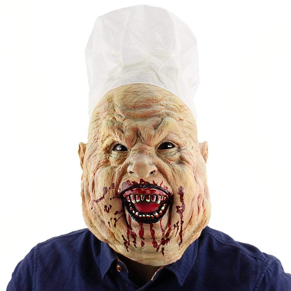 Circlefly Lo chef assetati di sangue Maschera Halloween orrore maschera in lattice parrucca haunted casa vestire cappuccio adulto orrore maschera