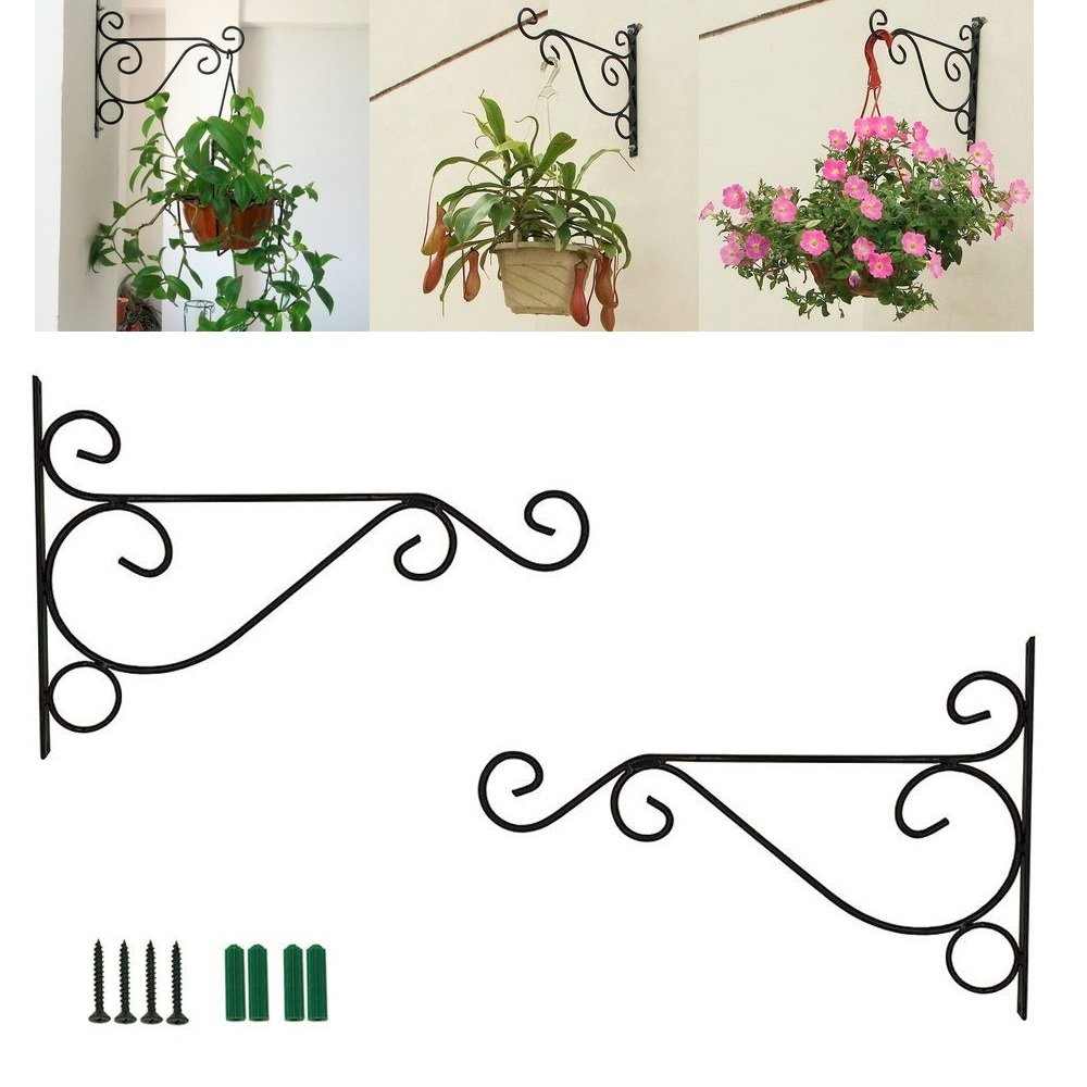 Chris.W 2Pack Black Plant Hanging Brackets Metal Wall Mount for Planter Bird Feeder Lanterns Wind Chimes, Screws Included - 10 inch