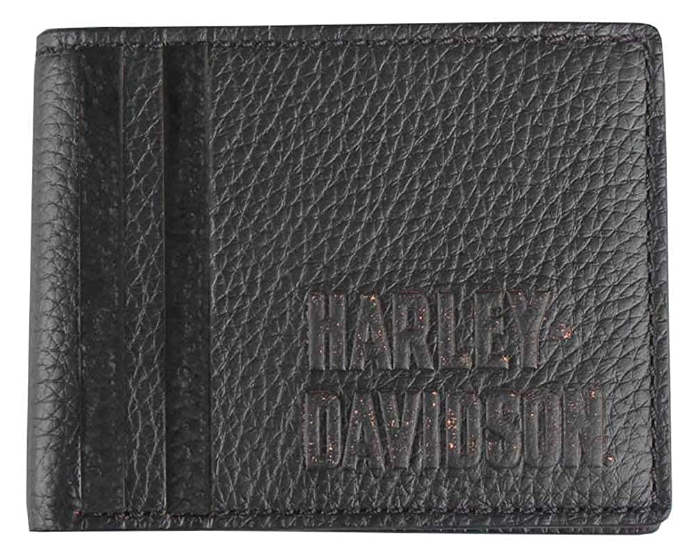 Harley-Davidson Mens Punk 1903 Billfold w//Removable ID Wallet PM7739L-BLACK