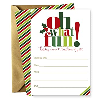 Amazon Com Oh What Fun Christmas Party Invitations Set Of 15 Cards