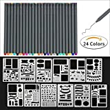 Fineliner Drawing Pens, 24 color fineliner Drawing pens and 12 pieces Notebook Diary Scrapbook Templates Plastic Planner Kit