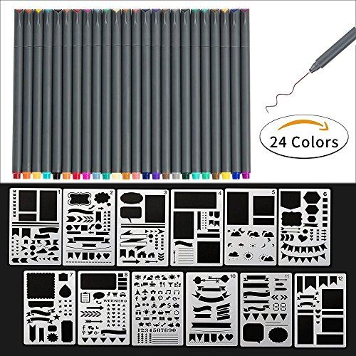 Fineliner Drawing Pens, 24 color fineliner Drawing pens and 12 pieces Notebook Diary Scrapbook Templates Plastic Planner (Planner Template)