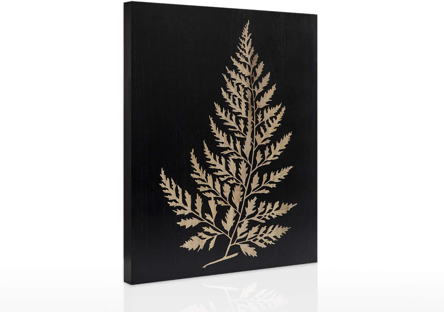 Hand Carved Wood Wall Art Decor Wall Painting Fern Series Artwork for Living Room Office 15.8 x 11.8 x 1.6 Inch