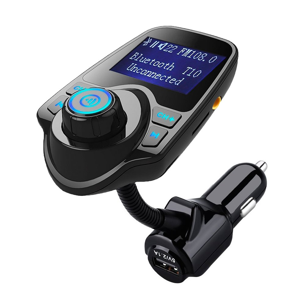 Bluetooth FM Transmitter,Hamaxa Wireless In-Car Radio Adapter Audio Receiver Music Modulator Car Kit MP3 Player w/ USB Car Charger AUX Hands Free Call 1.44'' Display TF Card Slot for Smartphone,Tablet