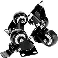 4pcs 50mm Heavy Duty Swivel Caster Wheels Castor Load 200KG Two with Brakes