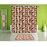 HoBeauty home Shower Curtain Set of 4,Orange,Red Retro Poppy Flowers,Waterproof Eco-Friendly Polyester Fabric Bathroom Set.