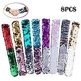 Slap Bracelets-8 Pack Magic Reversible Charm Sequin Bracelet 2-Color Velvet Flip Wristband Bracelets For Birthday Party Favors Gifts For Kids, Girls, Boys,Women