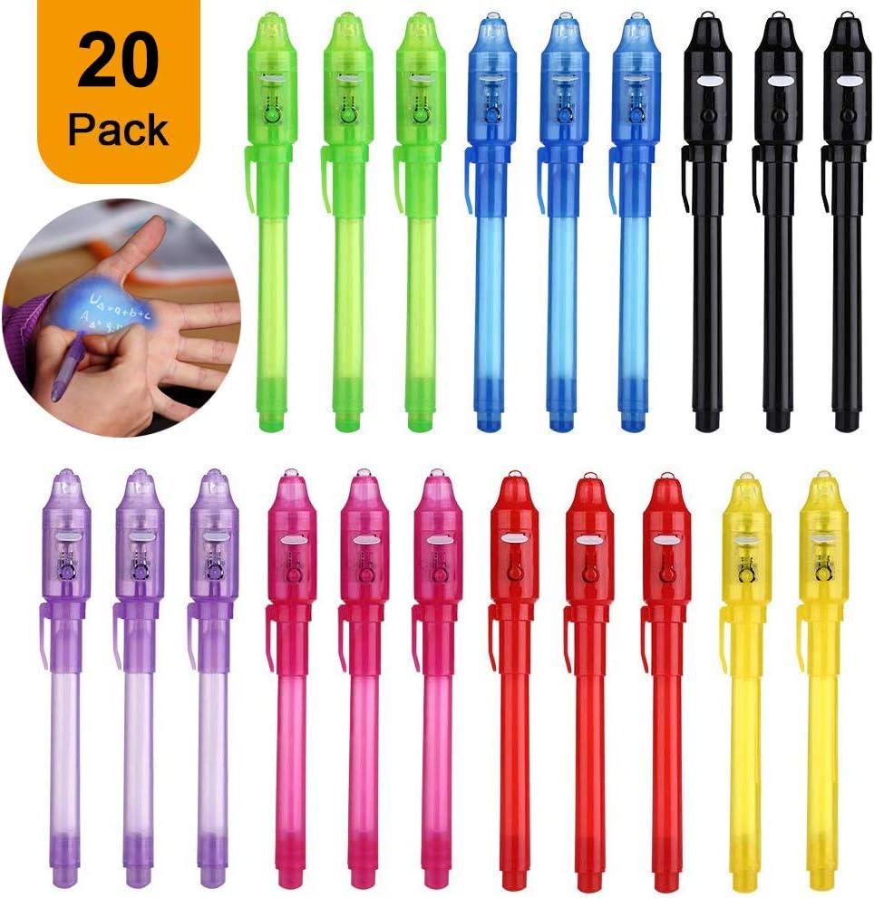 DazSpirit Bolígrafo de Tinta Invisible, 20Pcs lápiz espía Y mágico de luz UV para Mensajes Secretos y Fiestas Noticias Regalos Sencillas mágicas