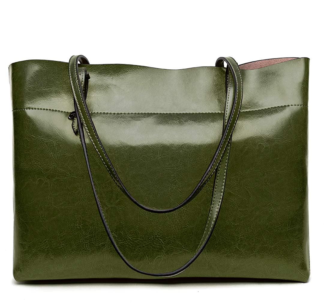Amazon.com  Covelin Women s Handbag Genuine Leather Tote Shoulder Bags Soft  Hot (Horizontal Army Green)  Shoes a638853e10954