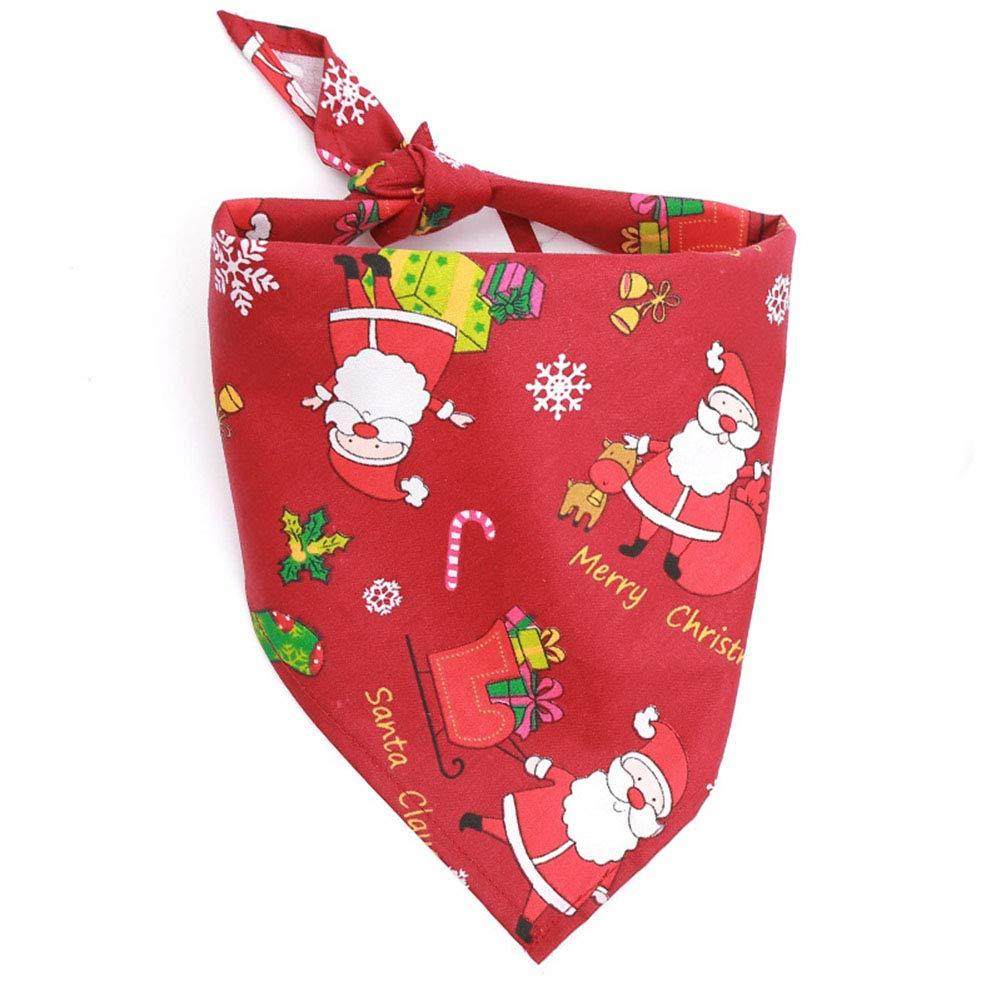 Cdet. 1pc Bandana Triangle pour Chien Noël Père Motif Serviette de salive Triangle pour Animaux de Compagnie Fournitures Vert