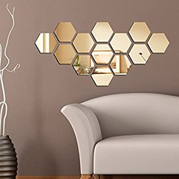 Dakshita Home Decor   Hexagon Golden (pack Of 13) 3D Wall Decor 3D Mirror