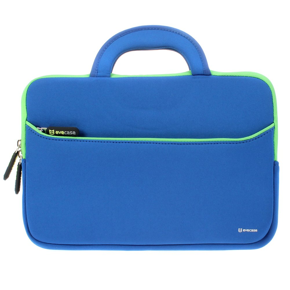 11.6-12.2 inch Tablet Sleeve, Evecase 11.6~12.2 inch Tablet/Notebook/ Chromebook/Ultrabook Sleeve, Ultra-Portable Neoprene Zipper Carrying Case Bag with Accessory Pocket - Blue/Green 885157752800