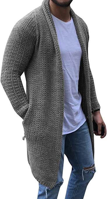 Beotyshow Men's No Button Knitted Cardigan Knee Length Solid Color Long Sleeve Open Front Sweater Long Cardigan with Pockets