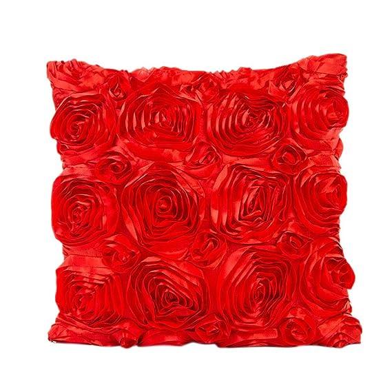 Fossrn Fundas de Cojines 45x45 Vintage Bordado de rosas ...
