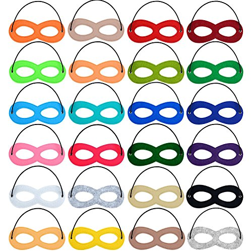 MAGICMAI Superhero Mask Halloween Masks Felt Cosplay Masks Half Masks Party Masks with Elastic Rope for Party 24 Pieces 24 Color (Black And White Superhero Costumes)