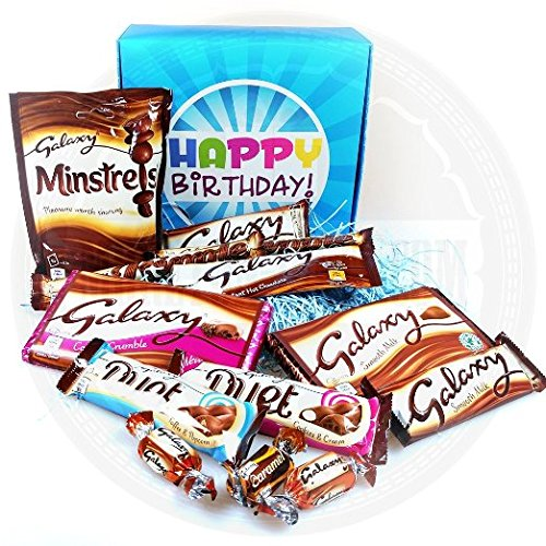The Ultimate Galaxy Chocolate Lovers Happy Birthday Gift Box - By Moreton Gifts - Full Different Galaxy Treats, Minstrels, Ripple, Duet, Smooth Chocolate, Hot Chocolate ...