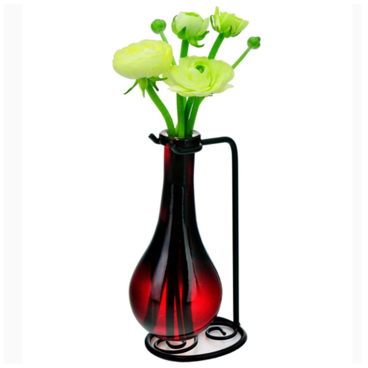Romantic Decor and More Small Flower Vase, Contemporary Glass Vases G189VF Red Colored Glass Bottles, Home Glass Accents