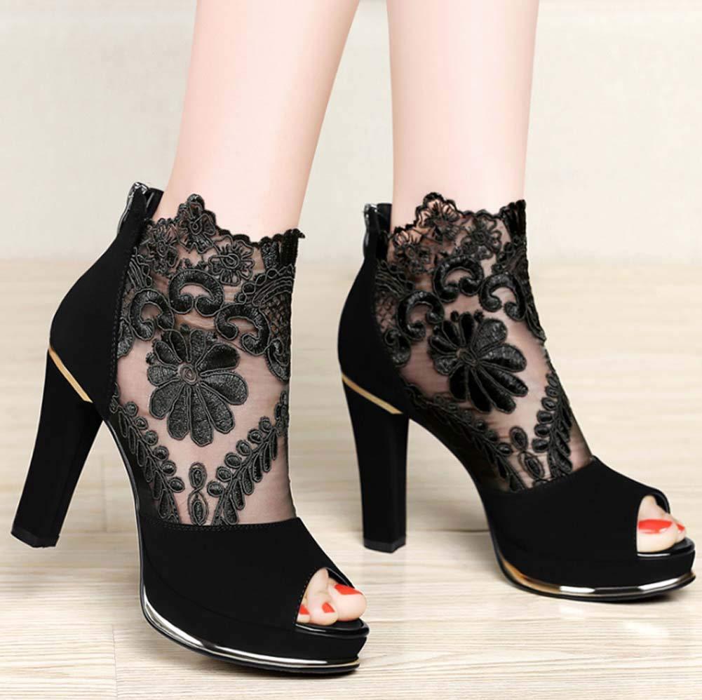 GHFJDO damen Lace Fish Mouth Schuhe Original Leder Mesh High Schuhe Heel Damen Thick Heel Schuhe High 24e8ea