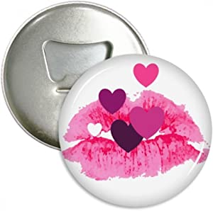 Pink Lip Hearts Valentine's Day Bottle Opener Fridge Magnet Emblem Multifunction Badge
