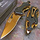 Mtech Ballistic Gold Titanium Bottle Opener Folding Pocket Knife