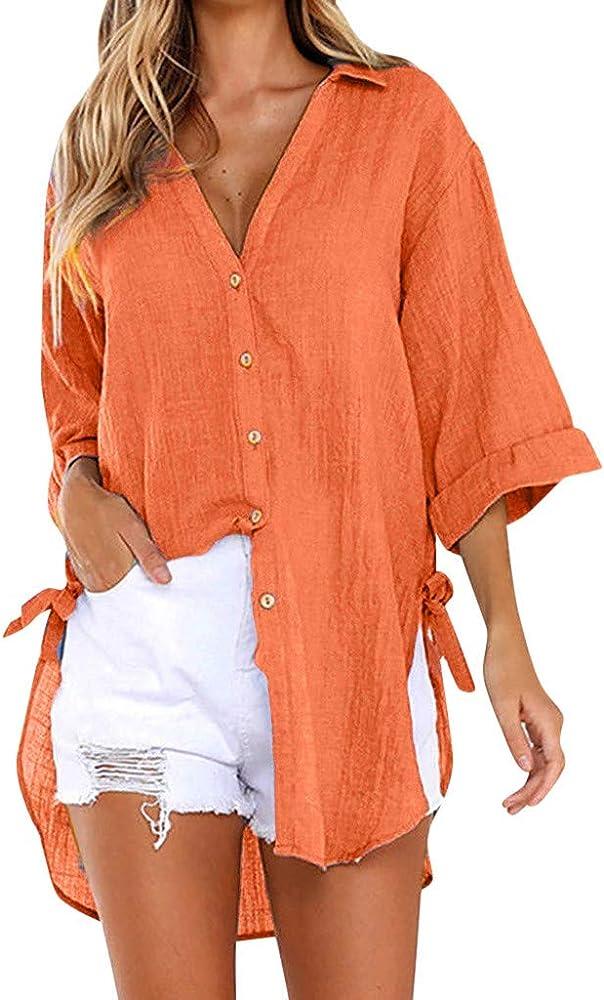 ABCone - Blusa de Manga Larga para Mujer, Elegante, Cuello en V sólido, Estilo Casual, Camisa para Mujer, Elegante Blusa Blanca para Mujer Arancione M: Amazon.es: Hogar