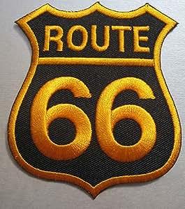 Route 66(negro & oro) parche para motorista moto insignia