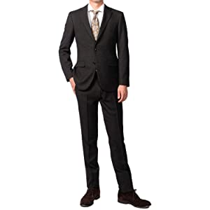 (Richard&Neil) 18 パンツウォッシャブル メンズ スーツ ビジネス ストレッチ ノータック 裾上げテープ付き ダークブラウン×チェック 29144431-31-AB5