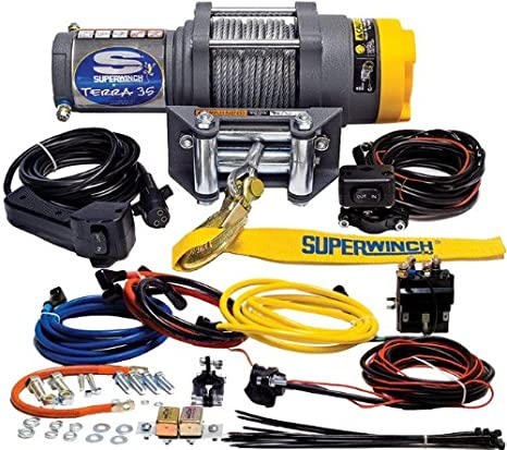 Superwinch 1135220 Terra 35 3500lbs 1591kg Single Line Pull With Roller Fairlead Handlebar Mnt Toggle Handheld Remote