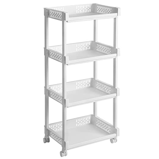 0a4b8c2cd67c SONGMICS 3-Tier Plastic Rolling Cart PP Storage Trolley with Castors ...