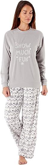 TALLA 36-38. Pijama de nieve para mujer con bordado de purpurina de color azul marino con nieve