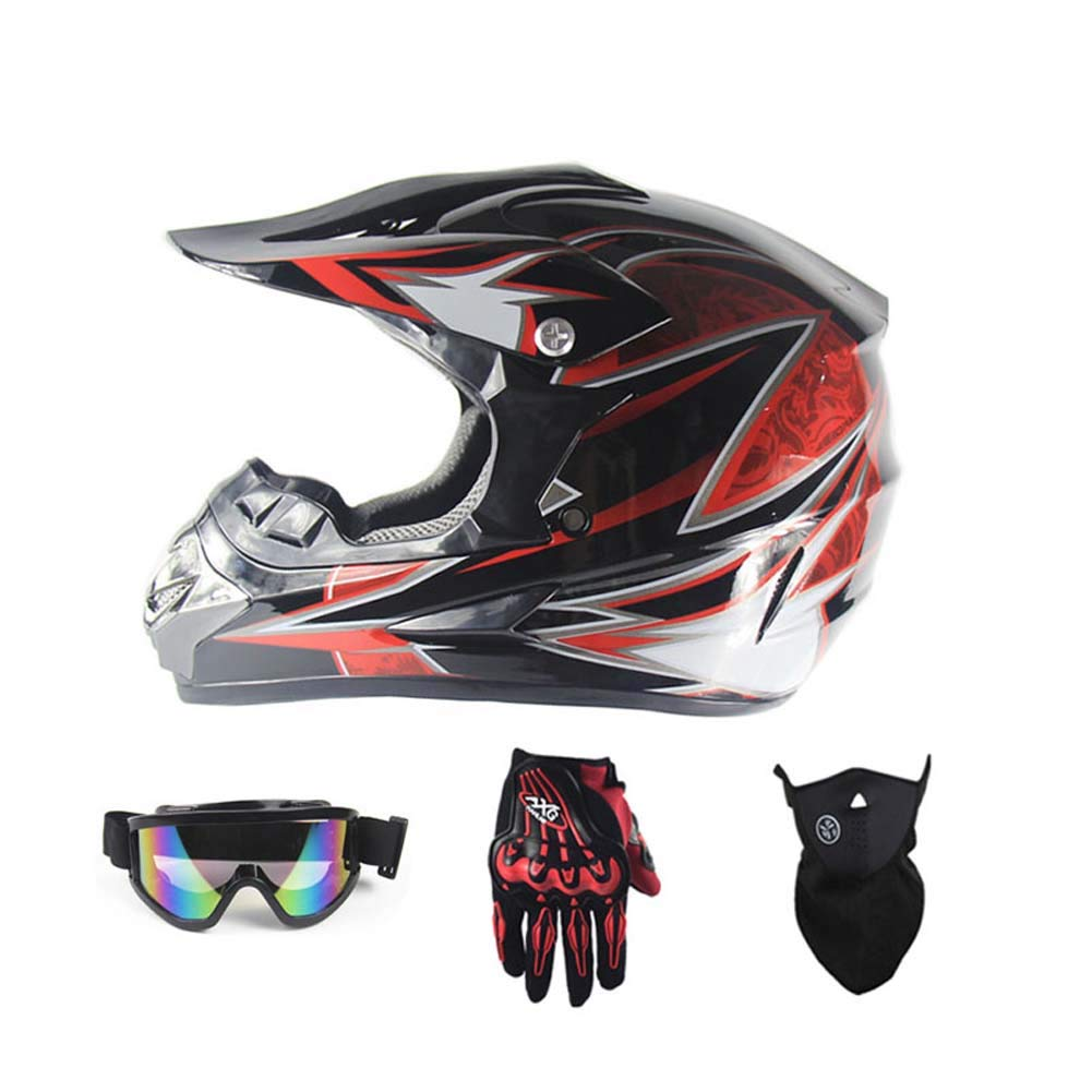 MRXUE Off-Road Anti-Collision Motorbike Helmet, Full Face Helmet Off-Road Anti-Collision Helmet Kit Adult Highway Helmet Give Goggles Bicycle Gloves Dust Mask,D,S(53~54Cm)