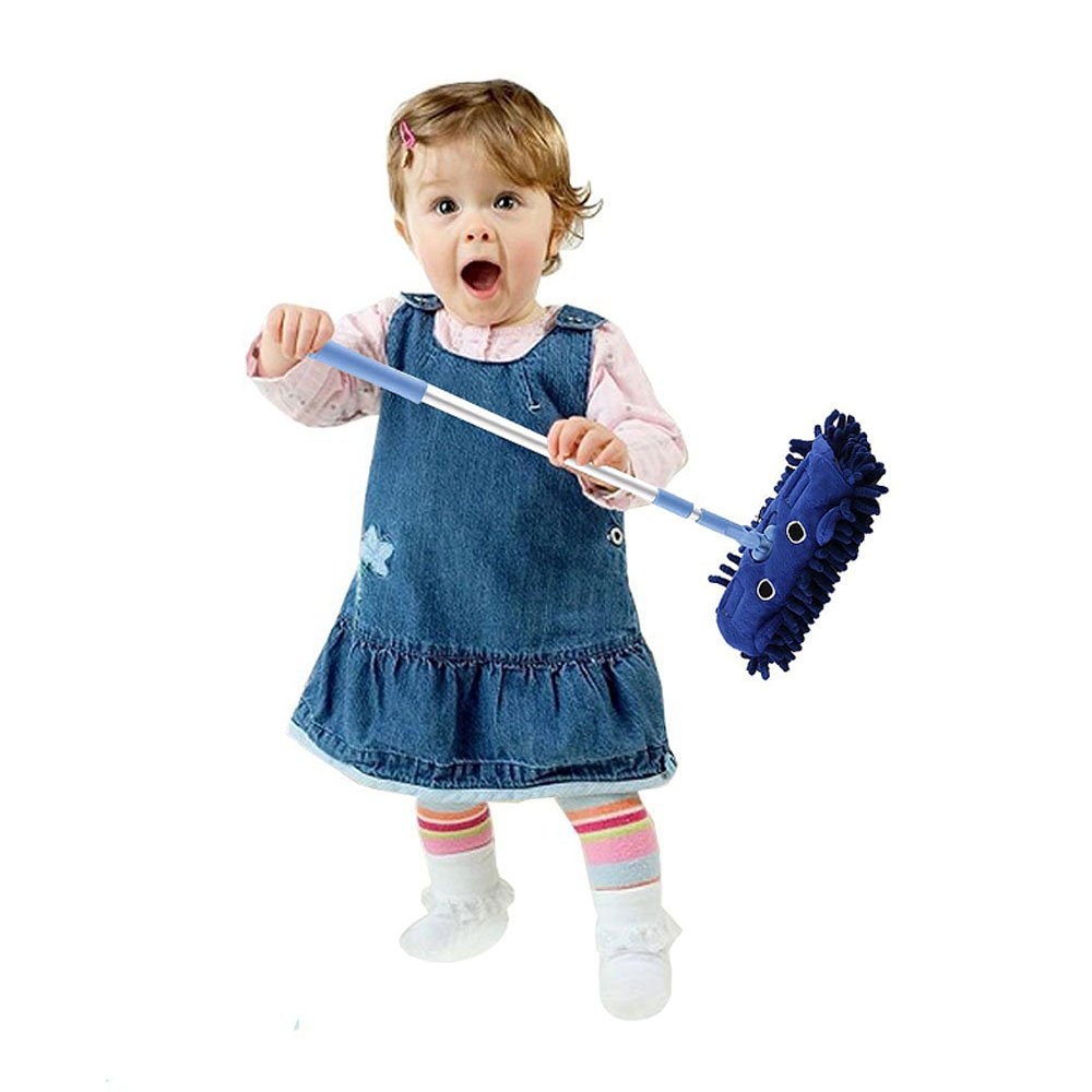 Kid's Housekeeping Cleaning Tools Set,Mini Broom With Dustpan For Kids mini mop (1 PCS, Blue)