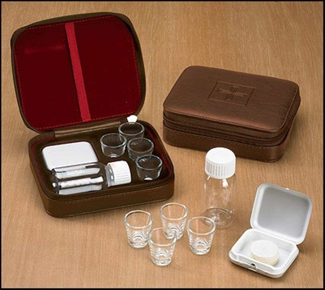 Cross Detail Faux Leather Lined Box 4 Cup Portable Minister Travel Communion Set