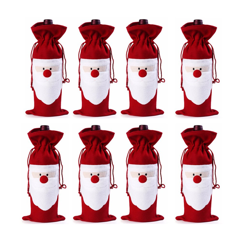 Keysui 4pcs Christmas Wine Bottle Bag Gift Wrap Drawstring Pouch Santa Deer Tree Pattern