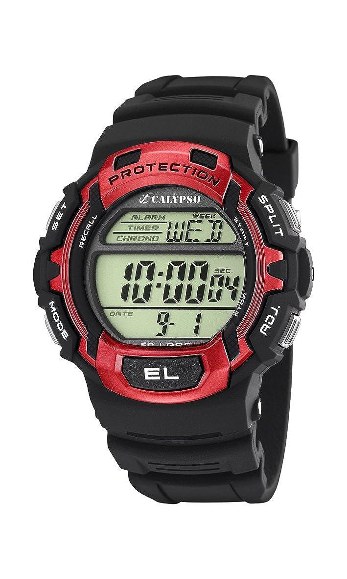 Calypso watches - Reloj digital de cuarzo para hombre con correa de plástico, color negro