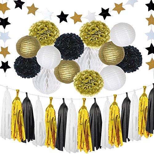 Domika 35pcs Black and Gold Tissue Paper Pom Poms Flowers Tassel Parper Lanterns Honeycomb Star Garland for Birthday Party Halloween (Halloween Birthday Party Ideas)