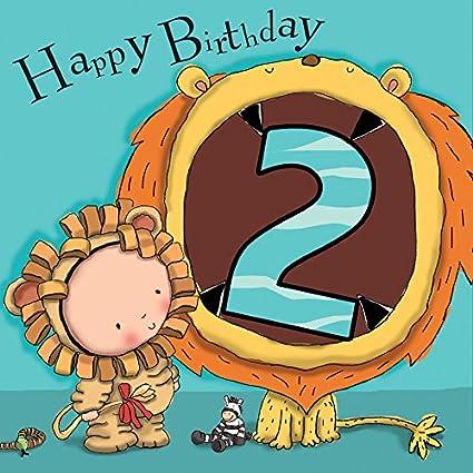 Twizler 2 nd Tarjeta de cumpleaños para Boy con león - dos ...