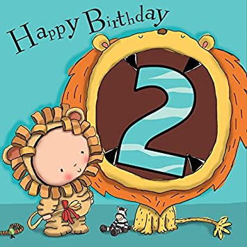 Twizler 2nd Birthday Card For Boy With Cute Lion Cut Out Two
